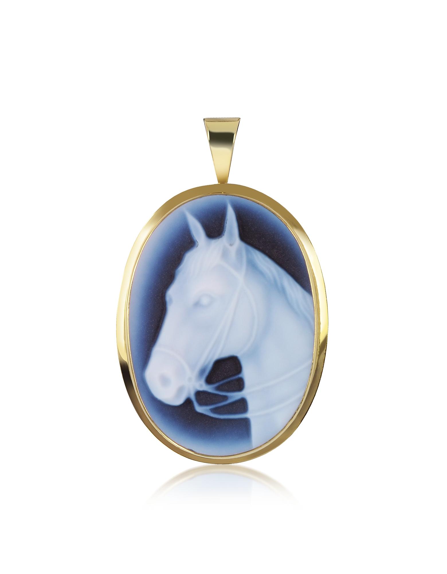Cammeo Pendente / Spilla con Cavallo in Agata Blu