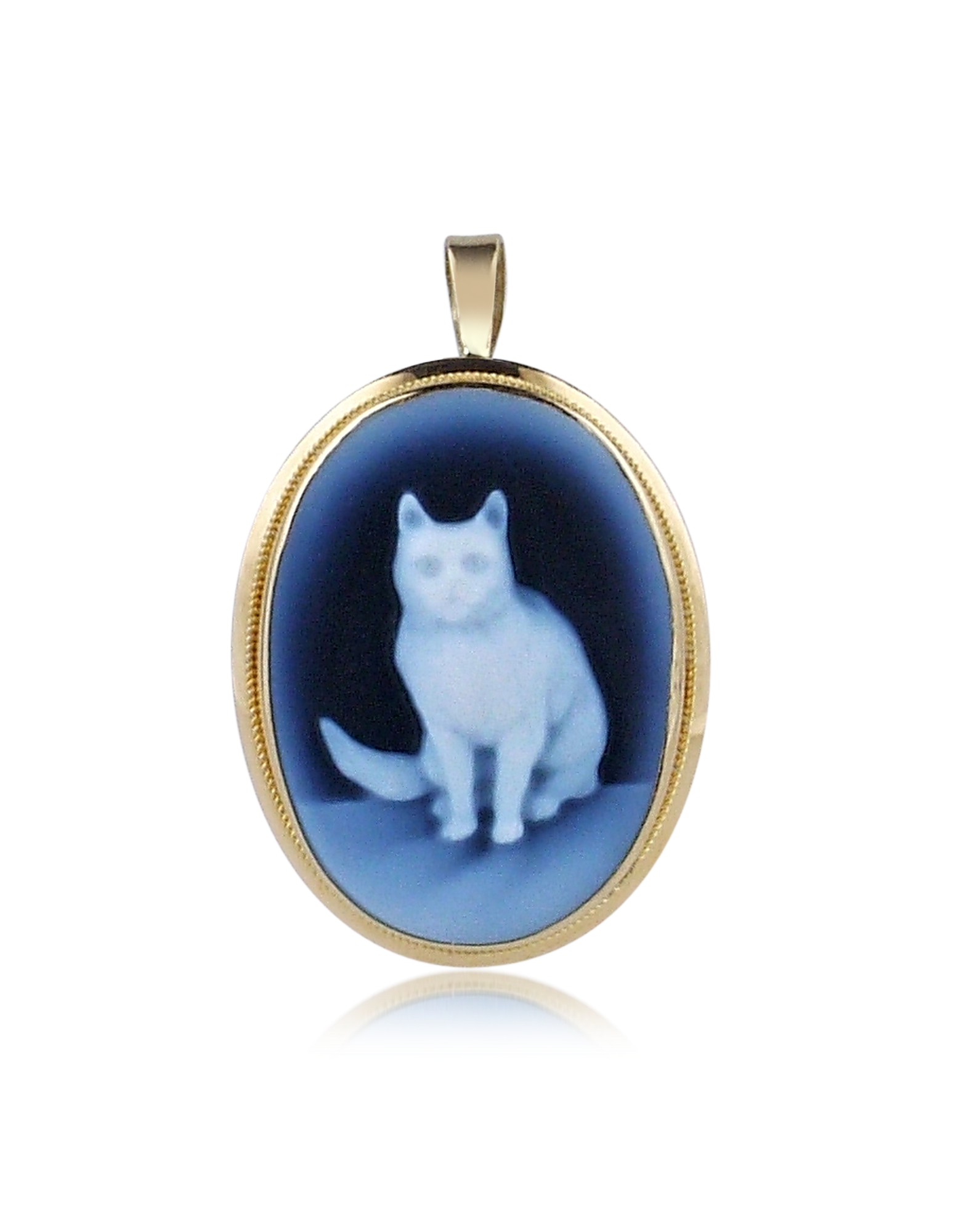 Image of Cat Agate Cameo Pendant