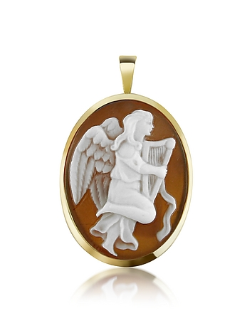 Del Gatto - Angel with Lyre Sardonyx Cameo Pendant/Pin