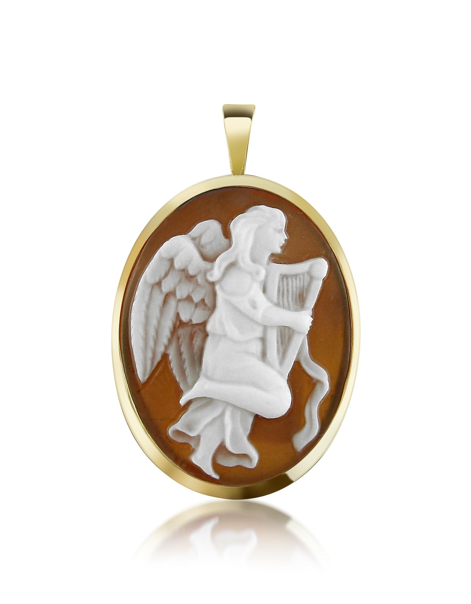 Del Gatto Cameo, Angel with Lyre Sardonyx Cameo Pendant/Pin