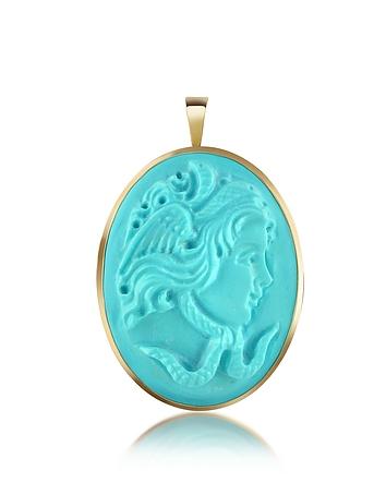 Del Gatto - Medusa Turquoise Paste Cameo Pendant/Pin
