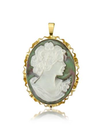 Woman Mother of Pearl Cameo Pendant/Pin