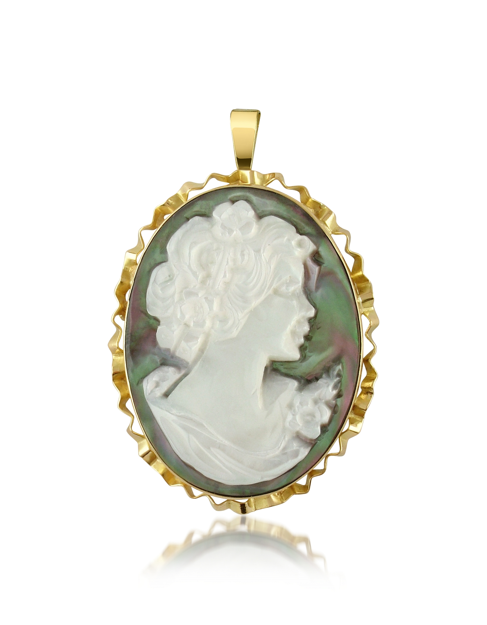 Del Gatto Cameo, Woman Mother of Pearl Cameo Pendant/Pin