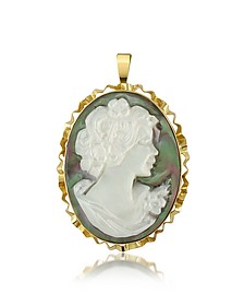 Woman Mother of Pearl Cameo Pendant/Pin - Del Gatto