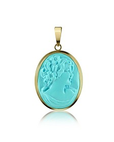 Woman Turquoise Paste Cameo Pendant  - Del Gatto