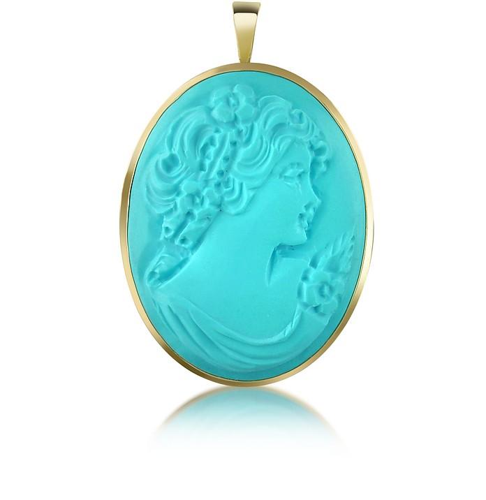 Woman Turquoise Paste Cameo Pendant/Pin - Del Gatto