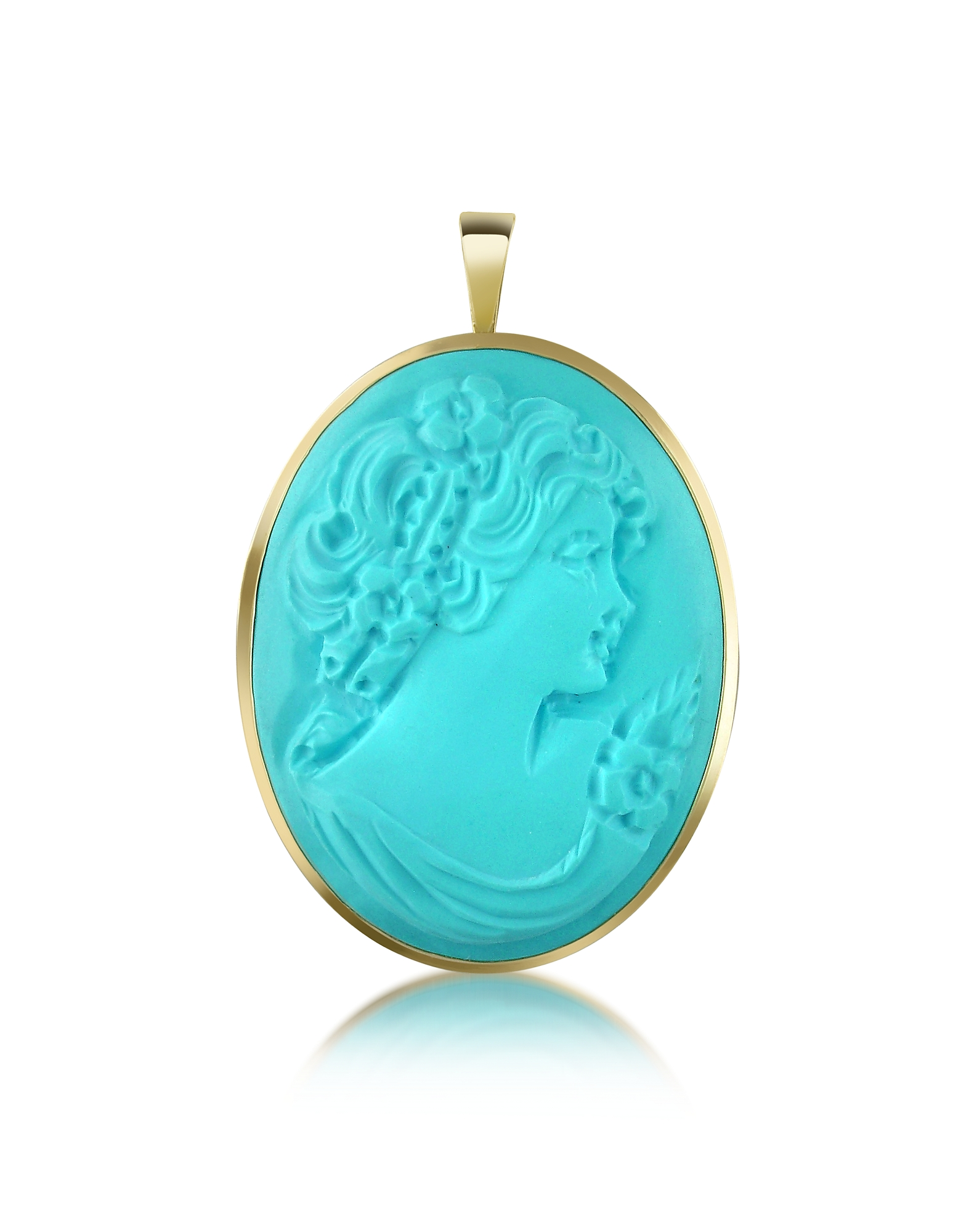 Del Gatto Cameo, Woman Turquoise Paste Cameo Pendant/Pin