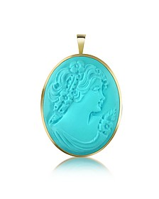 Woman Turquoise Paste Cameo Pendant/Pin - Del Gatto
