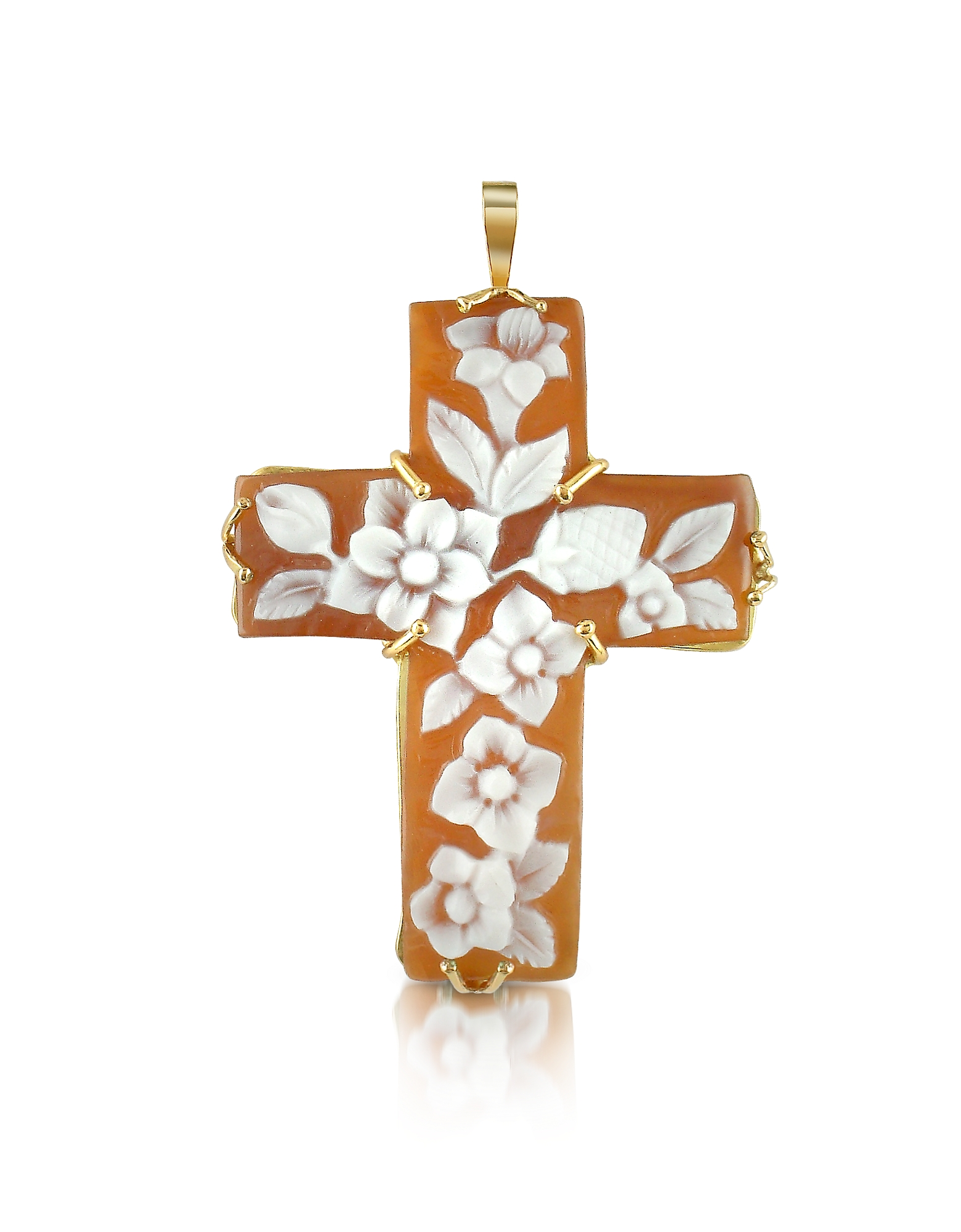 Del Gatto Designer Necklaces, Floral Sardonyx Cameo Cross Pendant