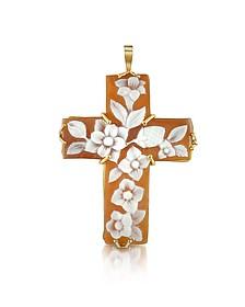 Floral Sardonyx Cameo Cross Pendant - Del Gatto