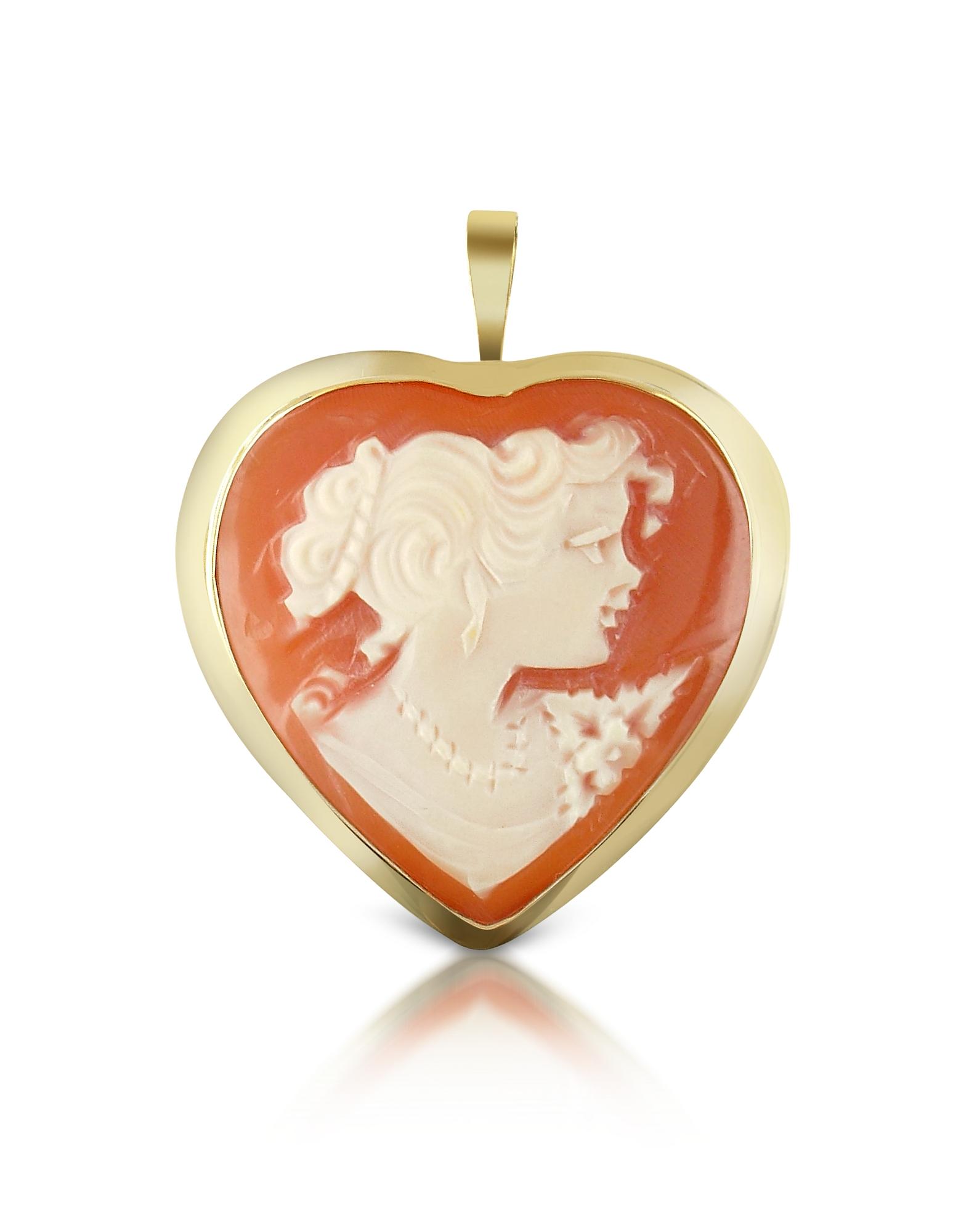 Del Gatto Cameo, Woman Heart Cornelian Cameo Pendant/Pin