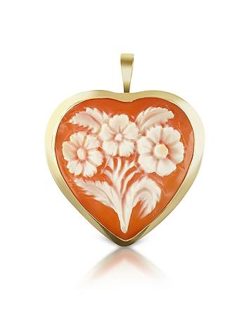 Del Gatto - Floral Heart Cornelian Cameo Pendant/Pin