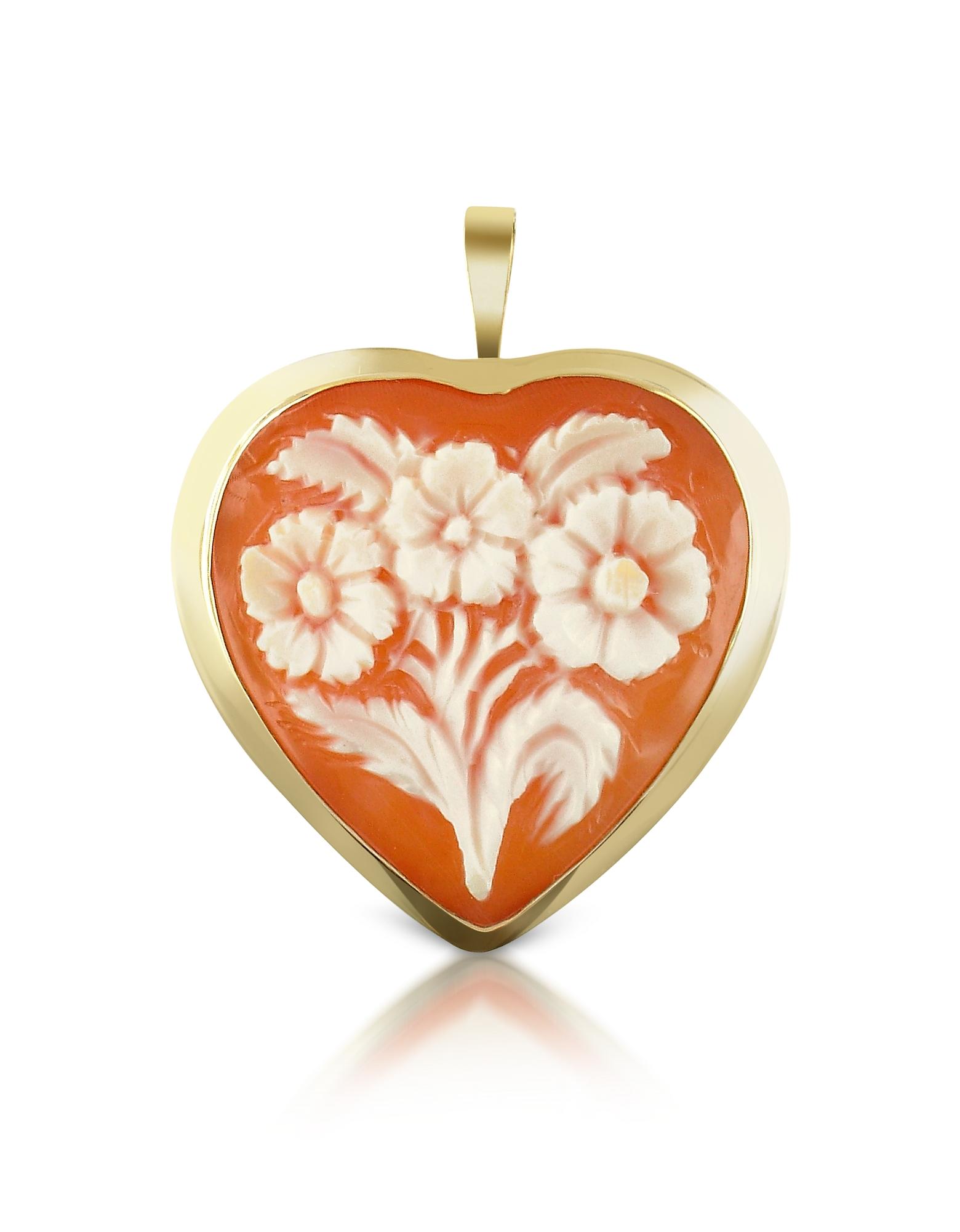Камея-Подвеска/Брошь из Сердоликовой Раковины в Форме Сердца с Цветами