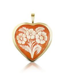 Floral Heart Cornelian Cameo Pendant/Pin - Del Gatto