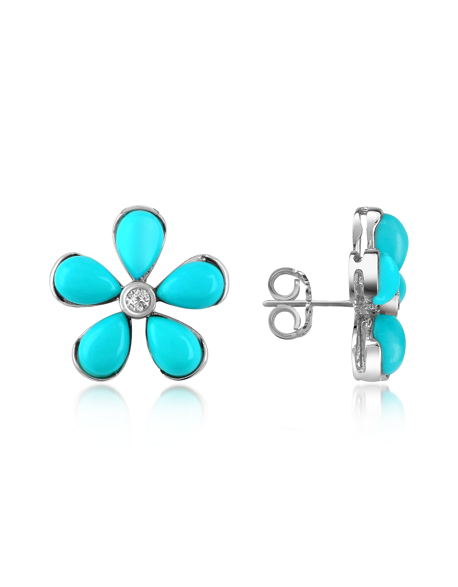 Del Gatto Designer Earrings, Diamond Gemstone Flower 18K Gold Earrings