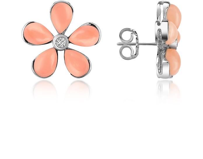 Diamond Gemstone Flower 18K Gold Earrings - Del Gatto