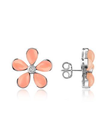 Lux-ID 208647 Diamond Gemstone Flower 18K Gold Earrings