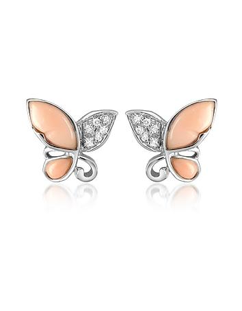 Del Gatto Boucles d'oreilles papillon en or blanc 750, gemme et diamants 0.09Ct