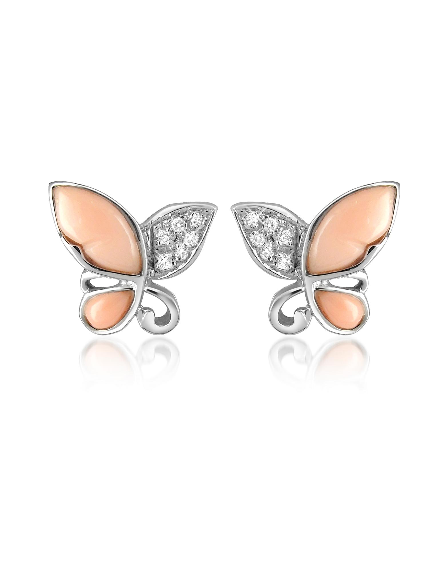 Del Gatto Designer Earrings, Diamond Gemstone Butterfly 18K Gold Earrings