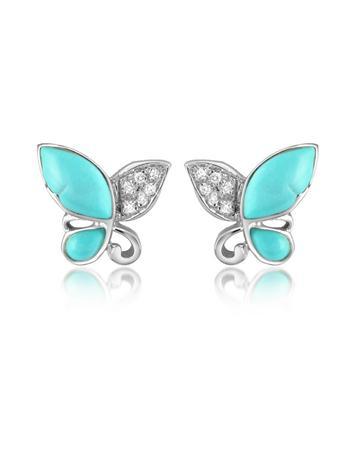 Lux-ID 208651 Diamond Gemstone Butterfly 18K Gold Earrings