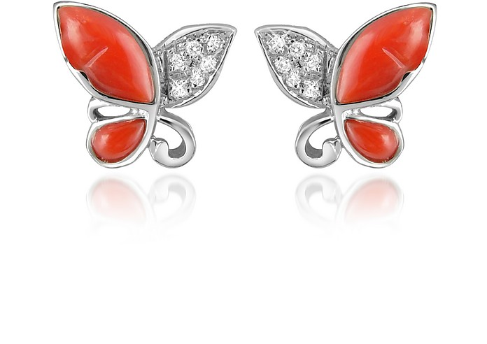Diamond Gemstone Butterfly 18K Gold Earrings - Del Gatto