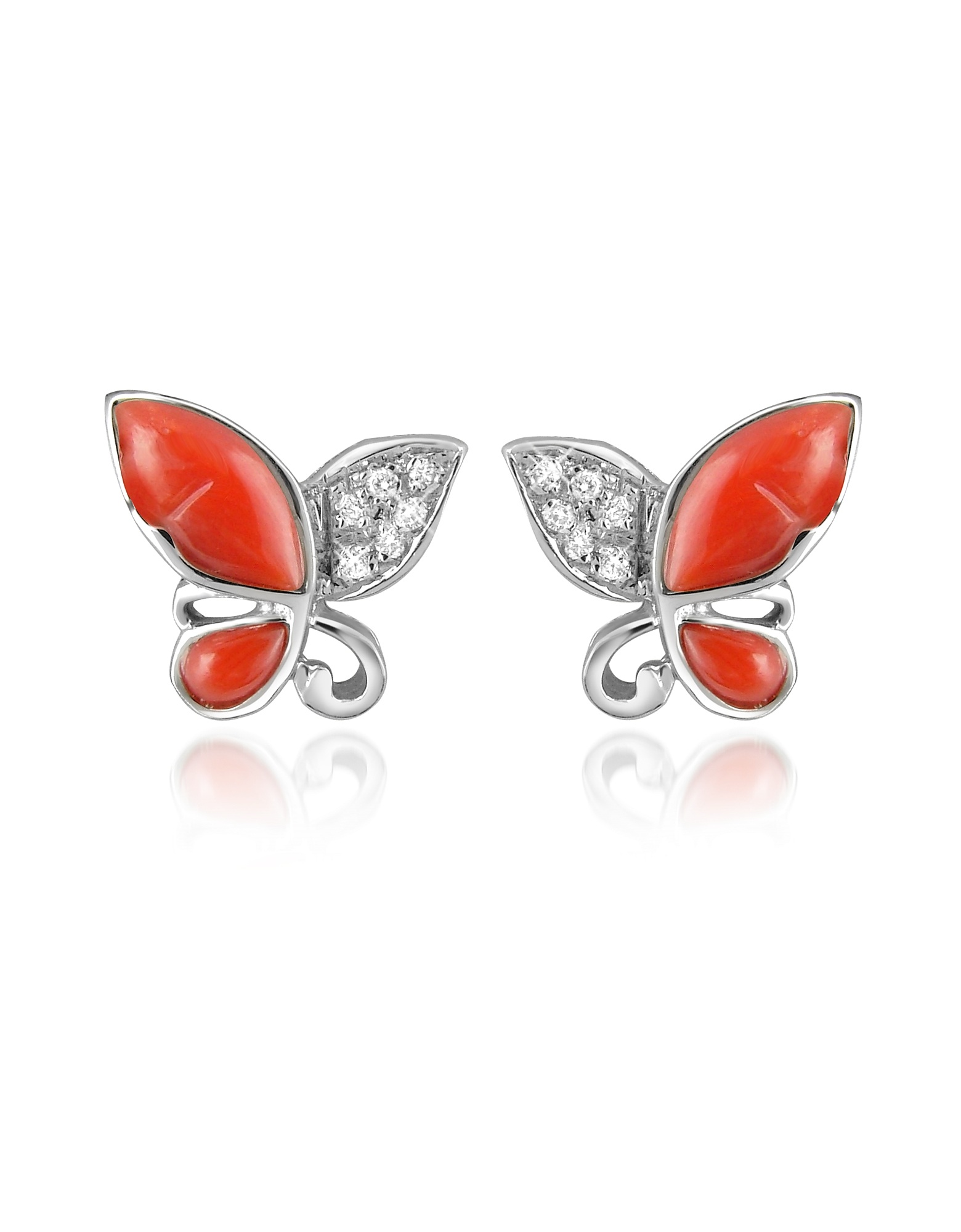 Del Gatto Earrings, Diamond Gemstone Butterfly 18K Gold Earrings