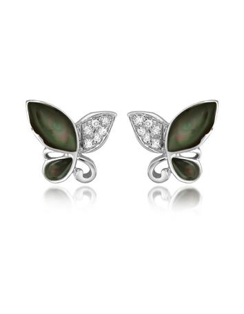 Diamond Gemstone Butterfly 18K Gold Earrings