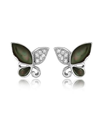 Del Gatto - Diamond Gemstone Butterfly 18K Gold Earrings