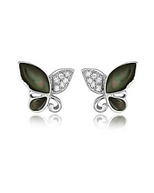 Diamond Gemstone Butterfly 18K Gold Earrings - Del Gatto