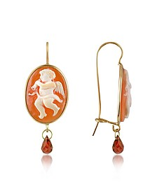 Angel w/Flute Cornelian Cameo Drop Earrings - Del Gatto