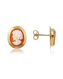 Woman Cornelian Cameo 18K Gold Earrings - Del Gatto