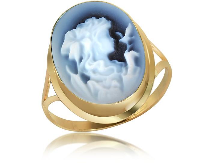 Woman Agate Cameo 18K Gold Ring - Del Gatto
