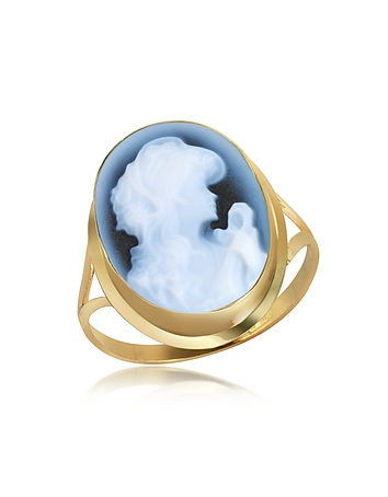 Woman Agate Cameo 18K Gold Ring