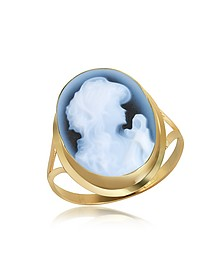 Woman Agate Cameo 18K Gold Ring - Del Gatto
