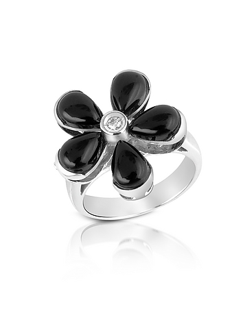 Del Gatto - Diamond and Onyx Flower 18K Gold Ring