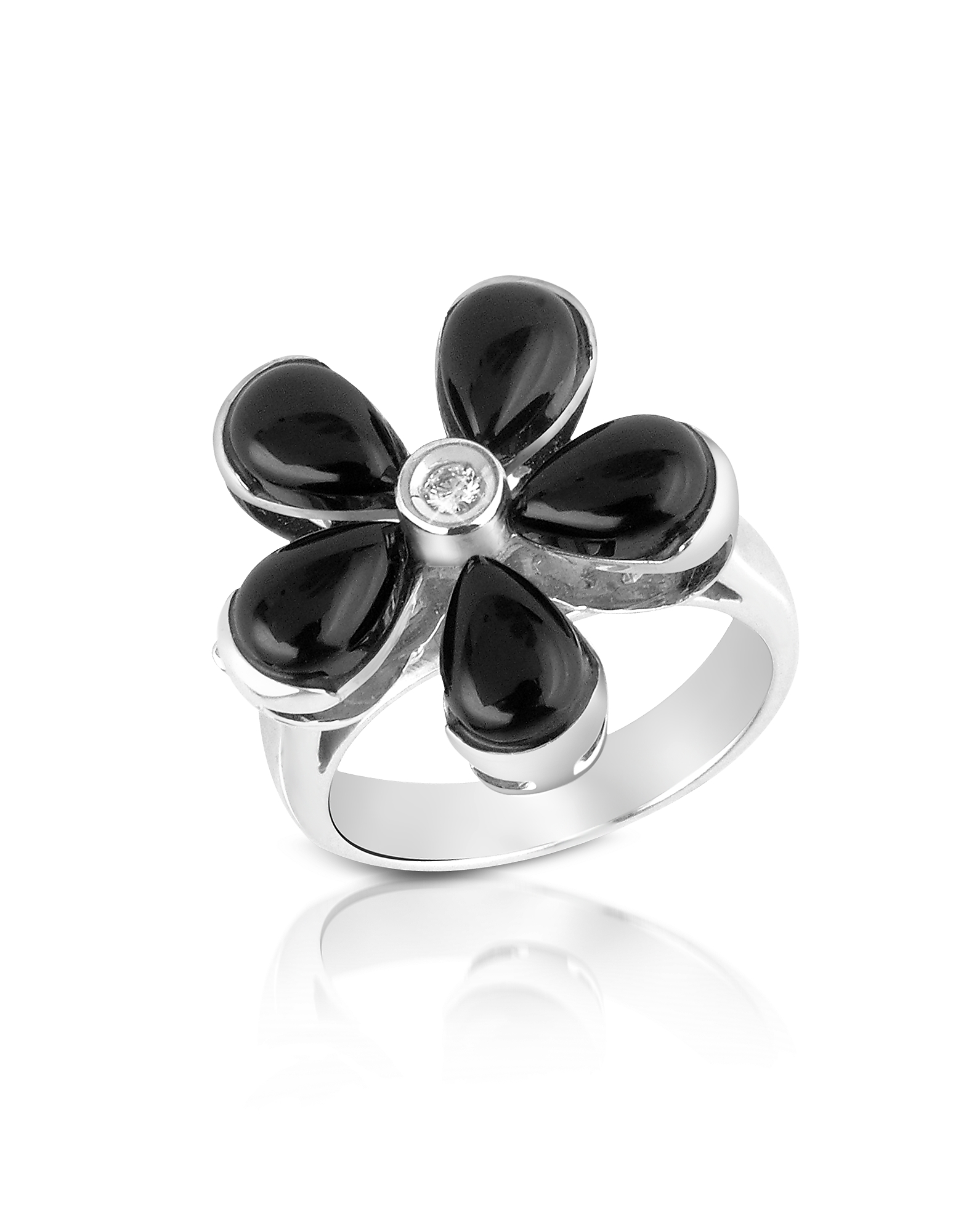 Del Gatto Rings, Diamond and Onyx Flower 18K Gold Ring