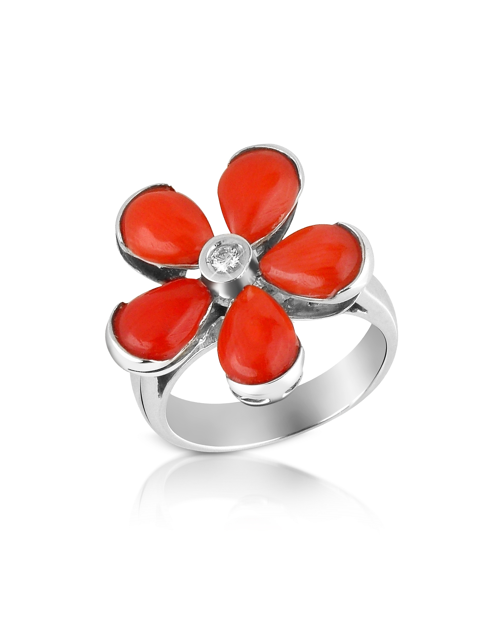 Del Gatto Rings, Diamond and Red Coral Flower 18K Gold Ring