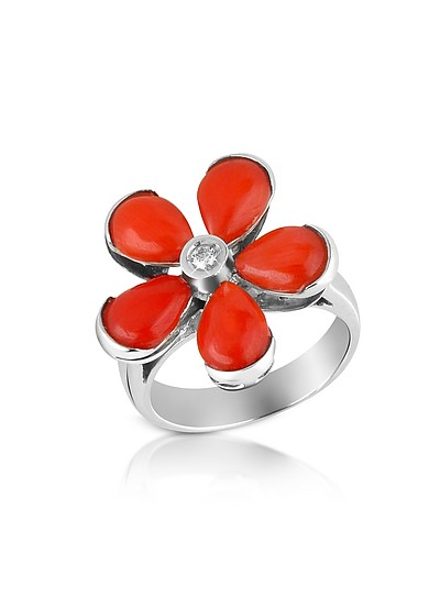Diamond and Red Coral Flower 18K Gold Ring - Del Gatto