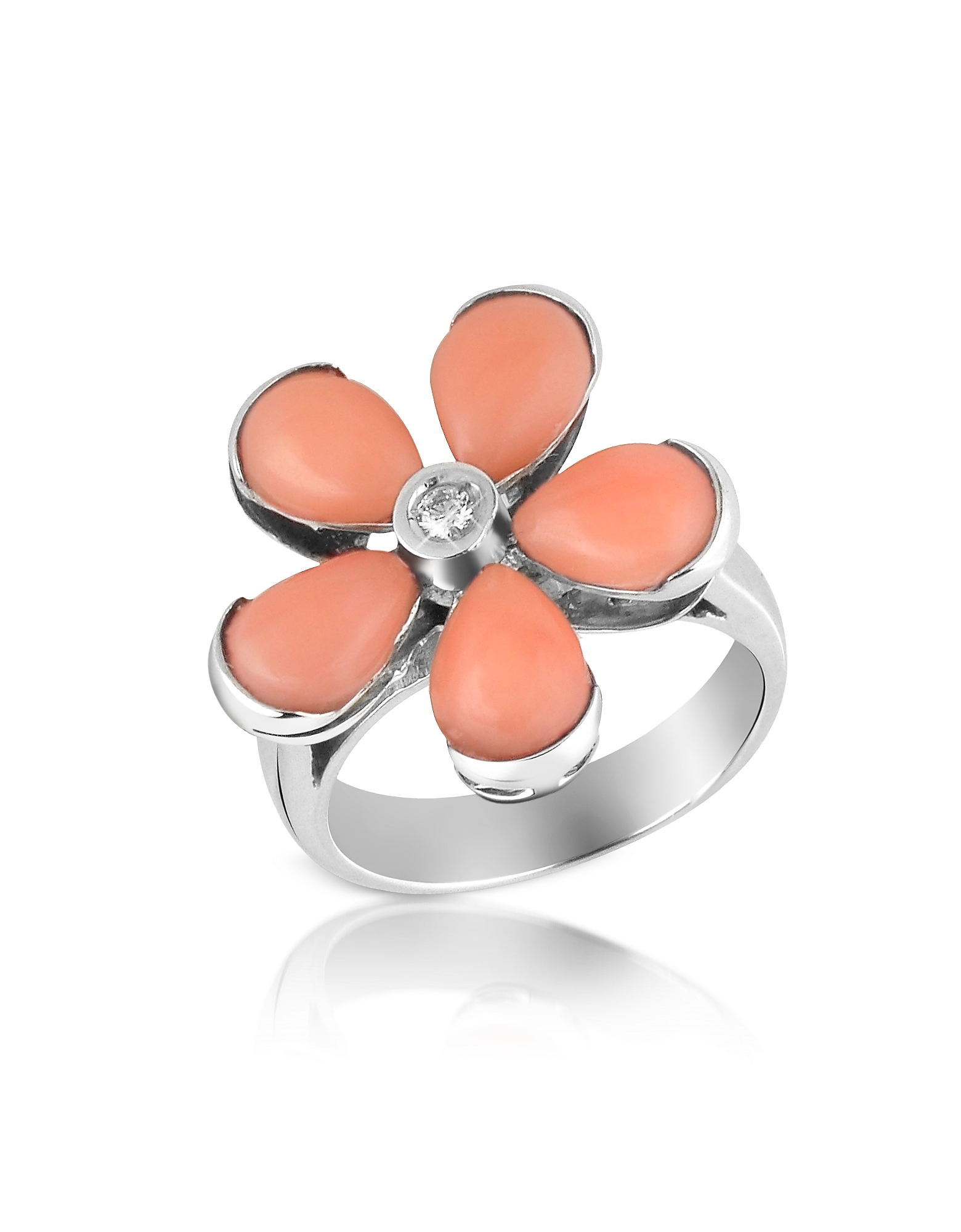 Del Gatto Rings, Diamond and Pink Coral Flower 18K Gold Ring