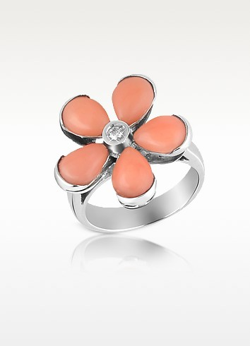 Diamond and Pink Coral Flower 18K Gold Ring - Del Gatto