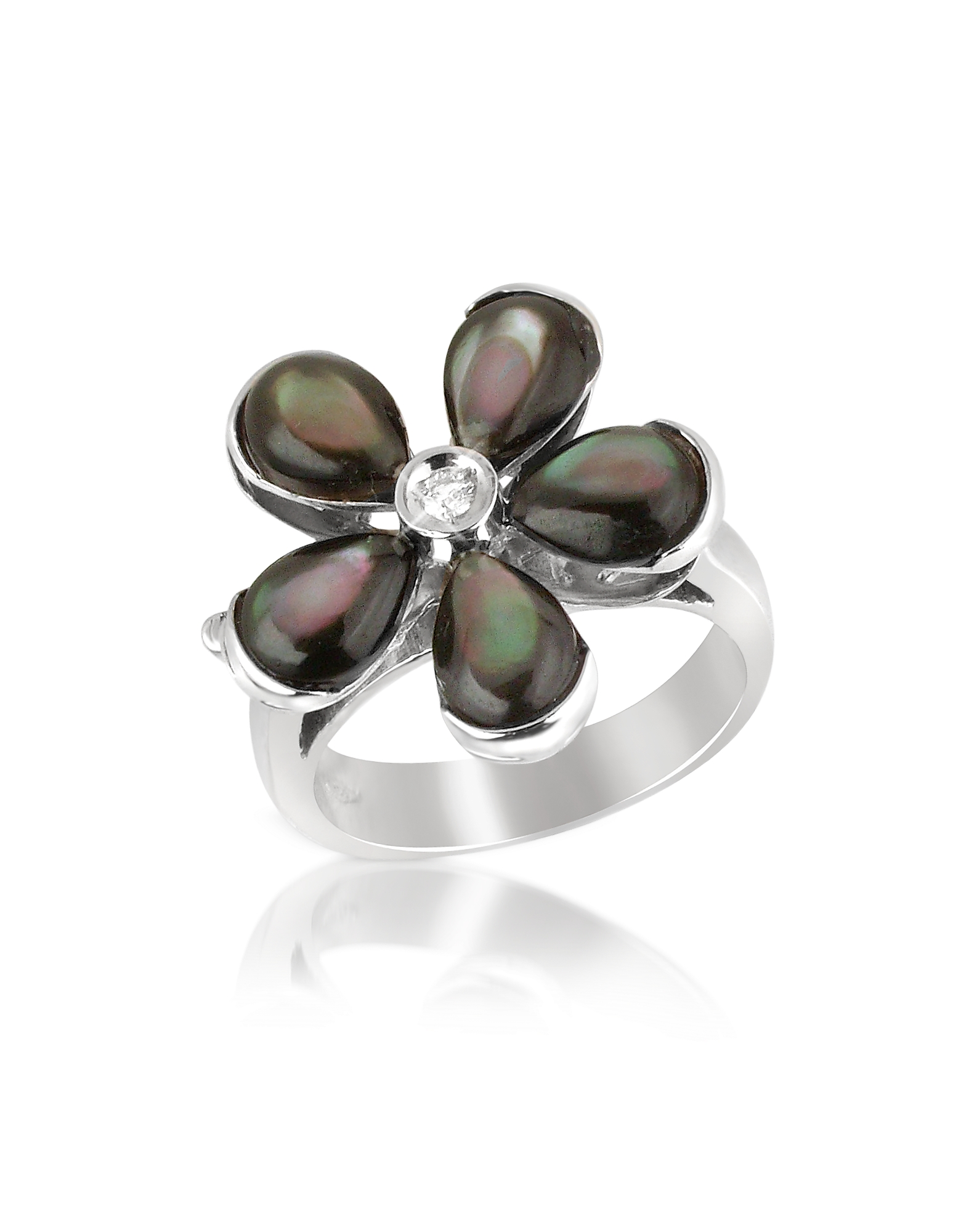 Del Gatto Rings, Diamond and Black Mother-of-Pearl Flower 18K Gold Ring