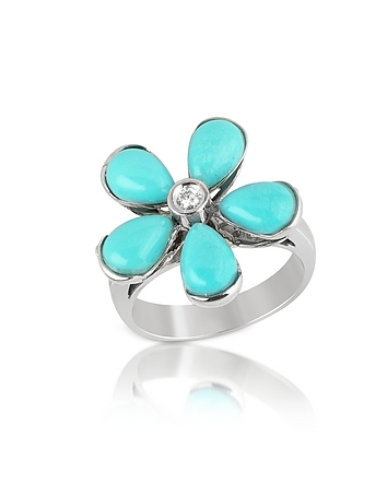 Diamond and Turquoise Flower 18K Gold Ring