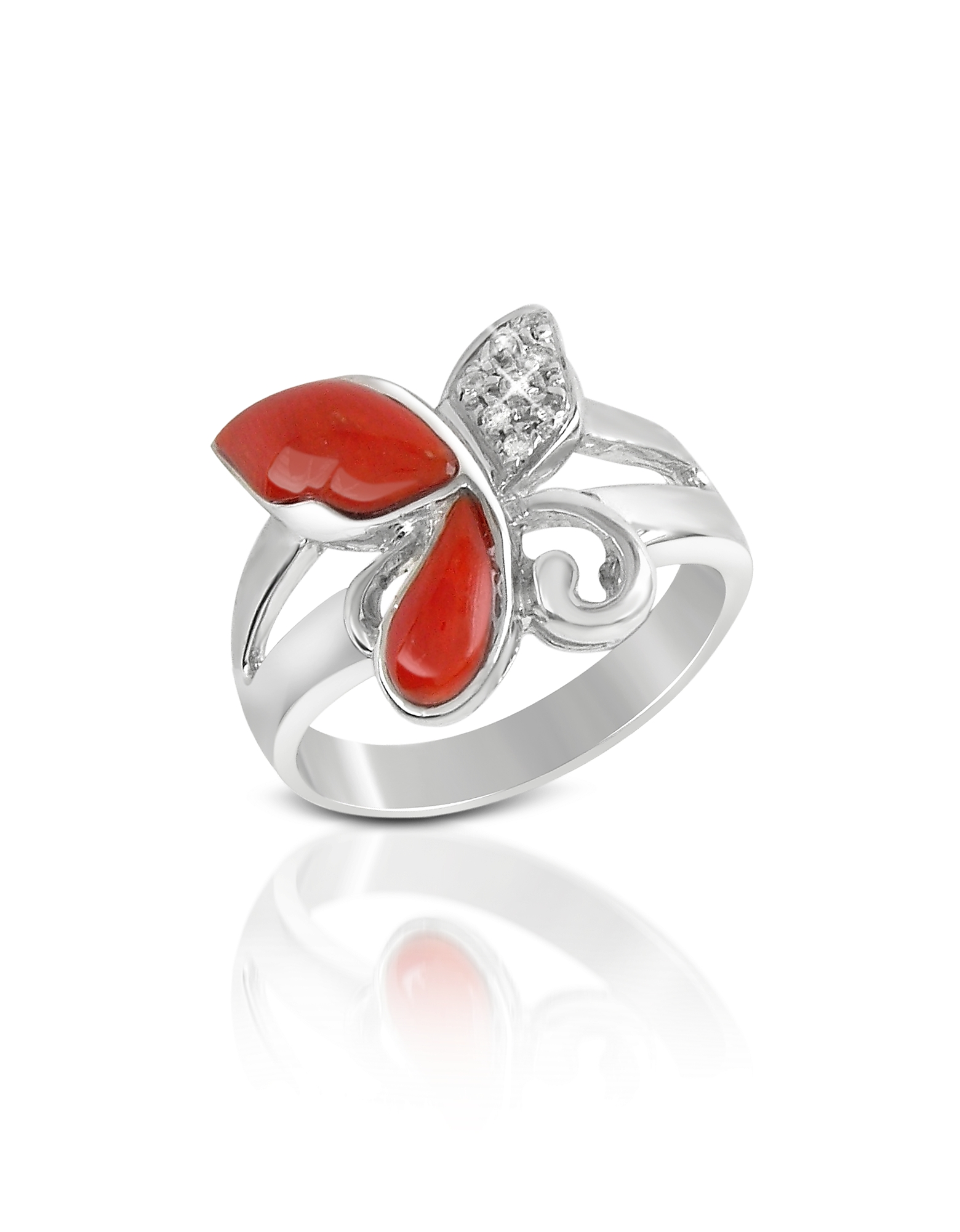 Diamond and Red Coral Butterfly 18K Gold Ring