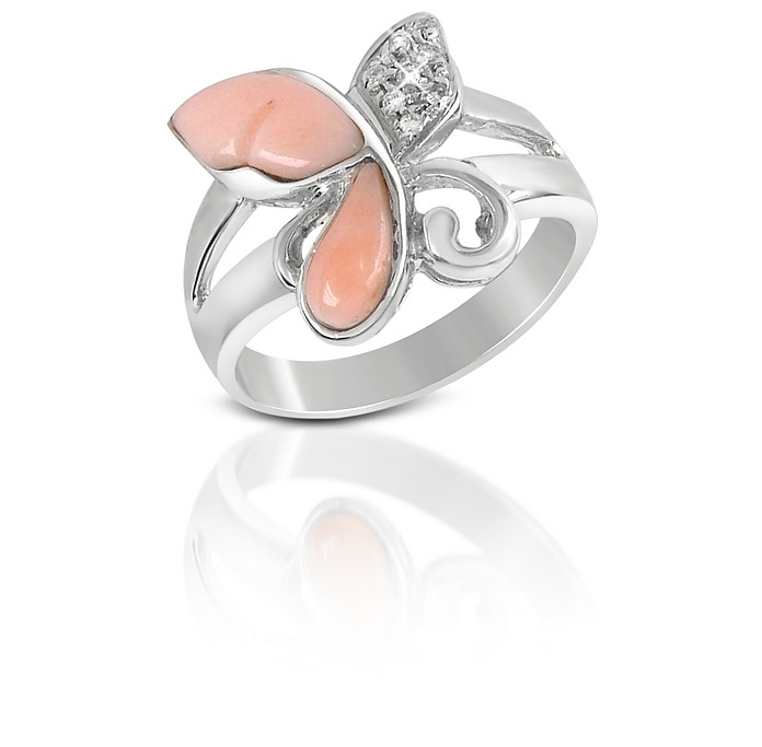 Diamond and Pink Coral Butterfly 18K Gold Ring - Del Gatto