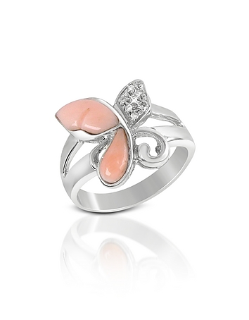 Diamond and Pink Coral Butterfly 18K Gold Ring