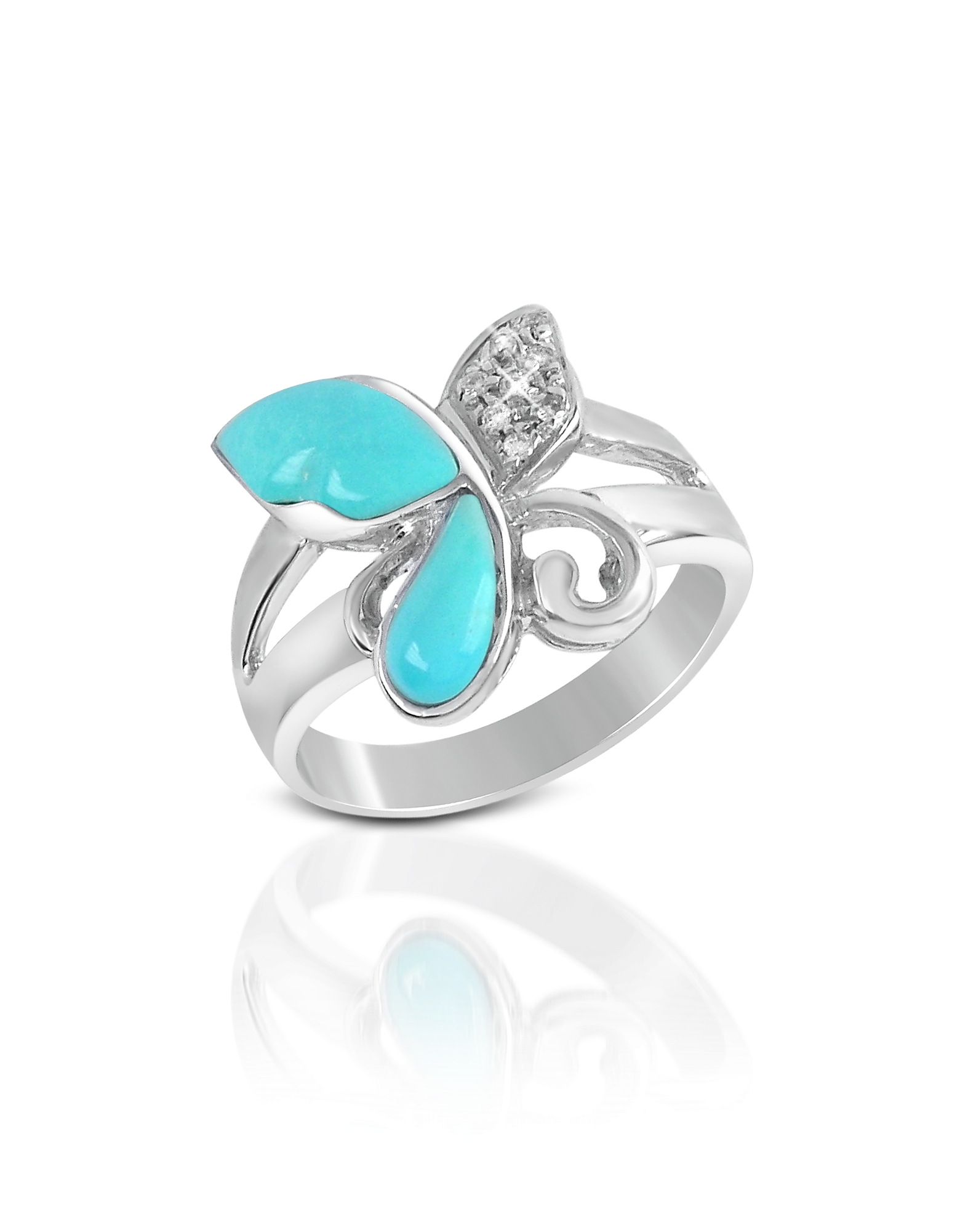 Del Gatto Designer Rings, Diamond and Turquoise Butterfly 18K Gold Ring