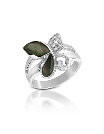 Del Gatto - Diamond and Black Mother-of-Pearl Butterfly 18K Gold Ring