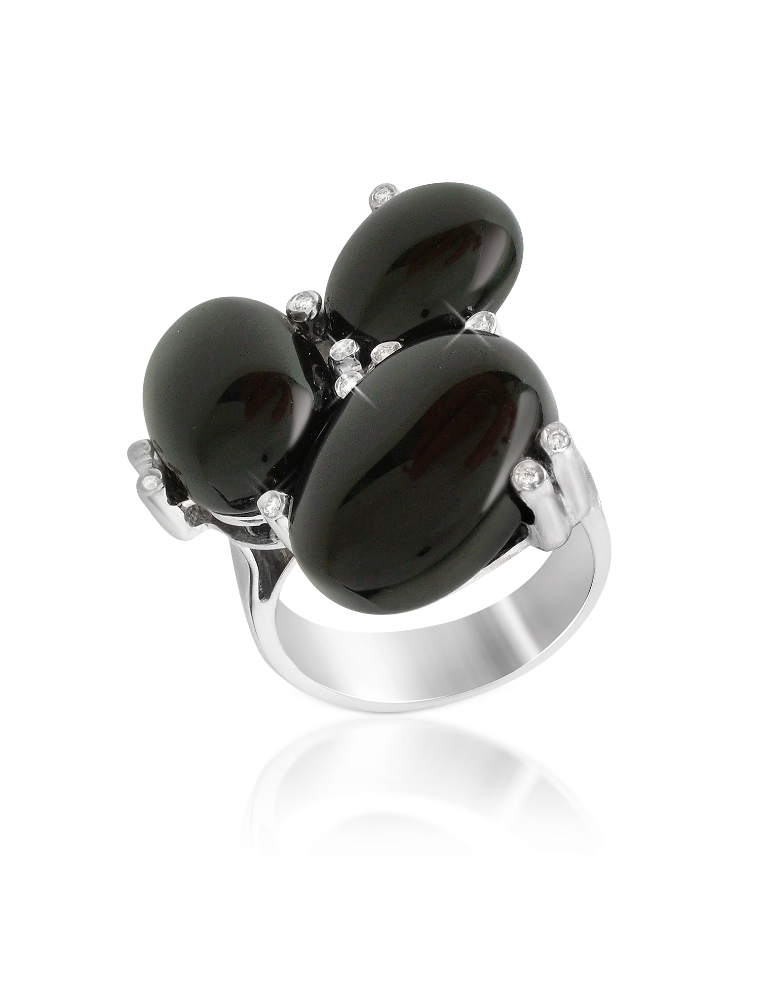 Del Gatto Rings, Diamond and Onyx Three-stone 18K Gold Ring