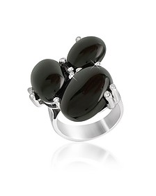 Diamond and Onyx Three-stone 18K Gold Ring  - Del Gatto