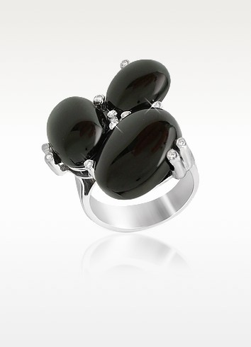 Diamond and Onyx Three-stone 18K Gold Ring  - Del Gatto